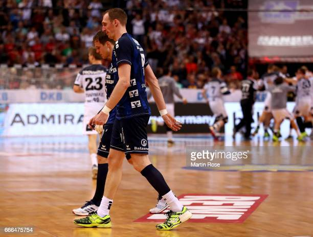 Holger Glandorf of Flensburg looks dejected after the Rewe Final Four final match between SG FlensburgHandewitt and Thw Kiel at Barclaycard Arena on...