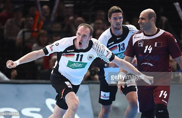 Holger Glandorf of Germany celebrates scoring a goal during the 25th IHF Men's World Championship 2017 Round of 16 match between Germany and Qatar at...