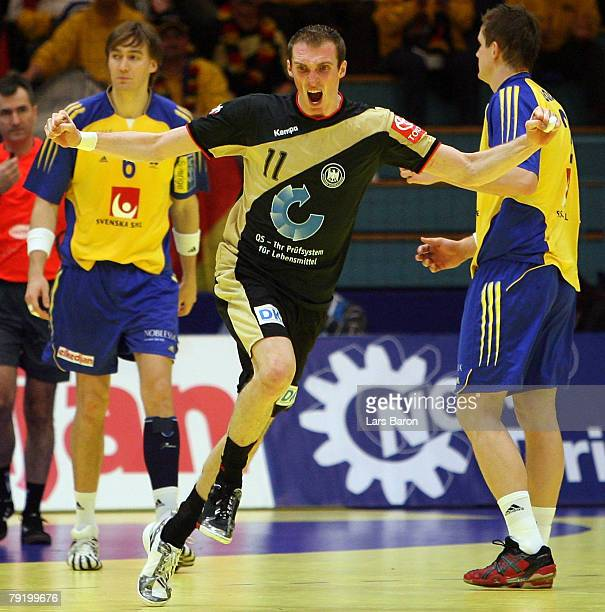 Holger Glandorf of Germany celebrates scoring a goal during the Men's Handball European Championship main round Group II match between Germany and...