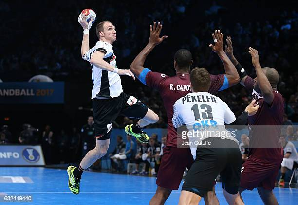 Holger Glandorf of Germany in action during the 25th IHF Men's World Championship 2017 Round of 16 match between Germany and Qatar at Accorhotels...