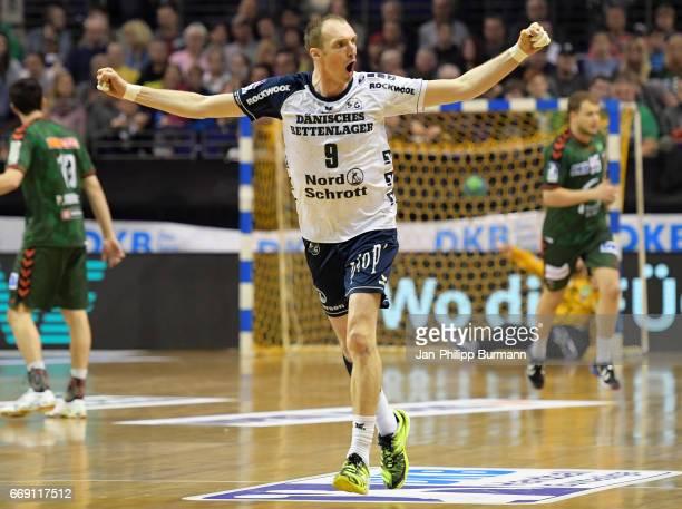 Holger Glandorf of SG FlensburgHandewitt celebrates das Tor during the game between Fuechse Berlin against SG FlensburgHandewitt on february 1 2017...