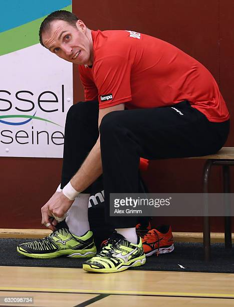 Holger Glandorf prepares for a Germany training session at Germinal during the 25th IHF Men's World Championship 2017 on January 19 2017 in Oissel...