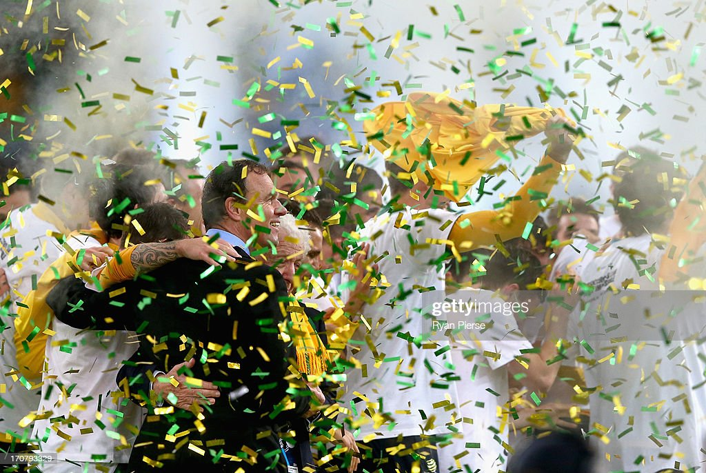 <a gi-track='captionPersonalityLinkClicked' href=/galleries/search?phrase=Holger+Osieck&family=editorial&specificpeople=579862 ng-click='$event.stopPropagation()'>Holger Osieck</a>, head coach of the Socceroos celebrates after the FIFA 2014 World Cup Asian Qualifier match between the Australian Socceroos and Iraq at ANZ Stadium on June 18, 2013 in Sydney, Australia.