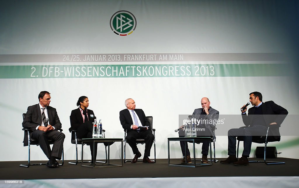 Holger Osieck Steffi Jones Wolfgang Staab Markus Weise and Robin Dutt attend the DFB Science Congress 2013 at the Steigenberger Airport Hotel on...