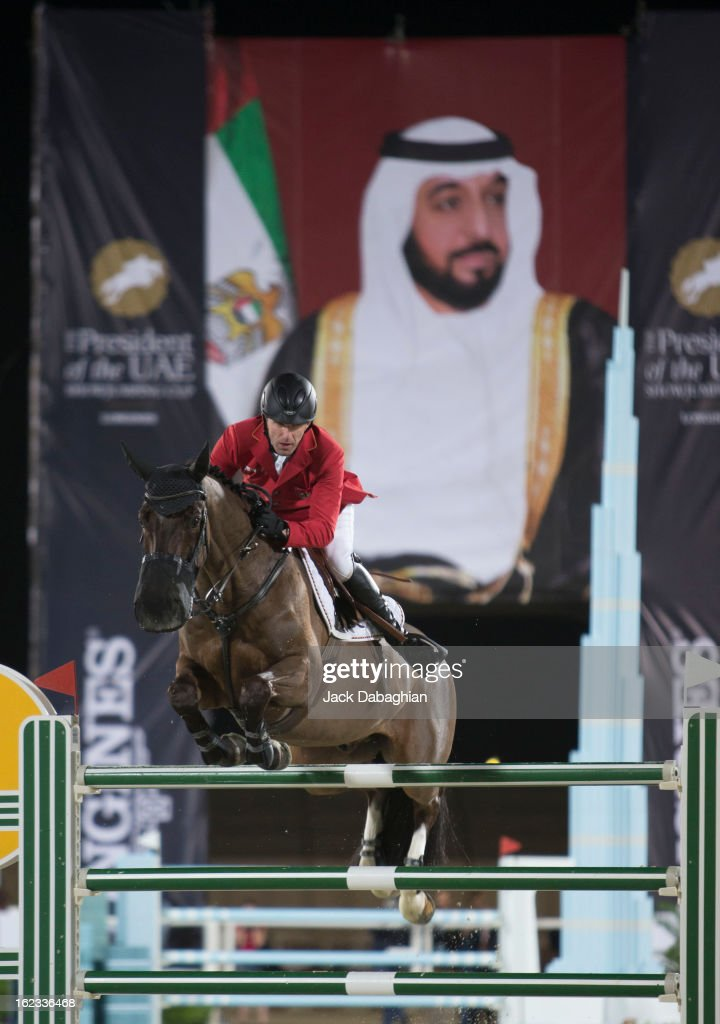 Holger Wulschner of Germany clears a hurdle on Cavity G during the President of the UAE Showjumping Cup - Furusyiah Nations Cup Series presented by Longines on February 21, 2013 in Al Ain, United Arab Emirates.