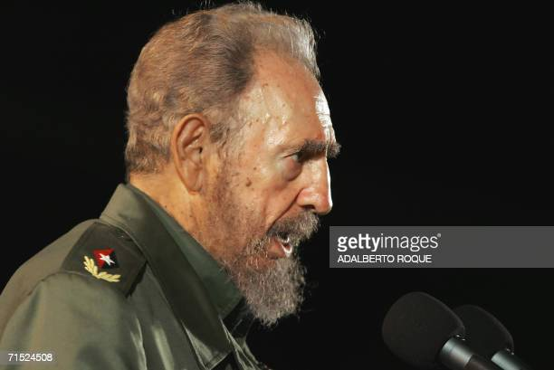 Cuban President Fidel Castro delivers a speech 26 july 2006 in the city of Holguin 700Km from Havana during the inauguration of an electricity...