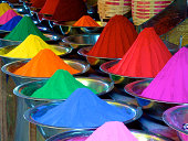 Holi colours in Mysore Market, Karnataka, India