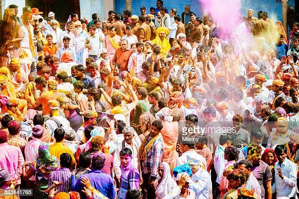 Holi Festival India Crowd Celebrating