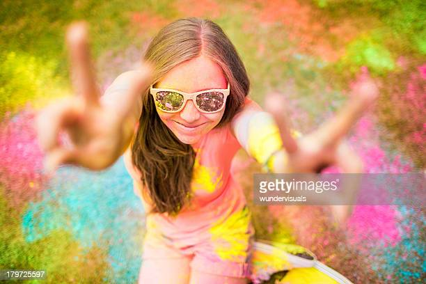 Holi Festival Party girl with colorful powder
