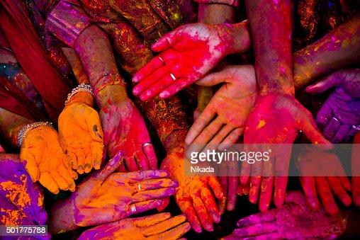 Holi festivalhands in India