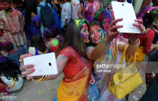 Holi Festival,People Celebrating Festival of Colors,West Bengal,India.