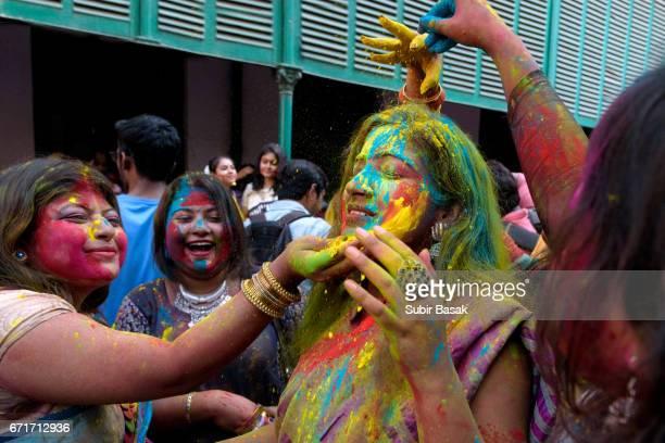 Holi Festival,Young Group of Friends Celebrating Holi Festival,West Bengal,India.