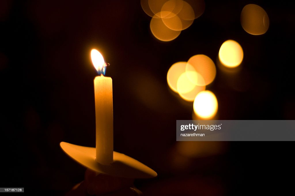 holiday candlelight service or memorial vigil : Stock Photo