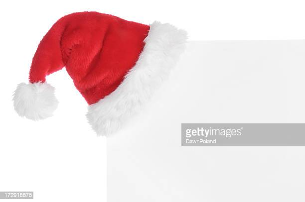 Holiday card with Santa hat on corner
