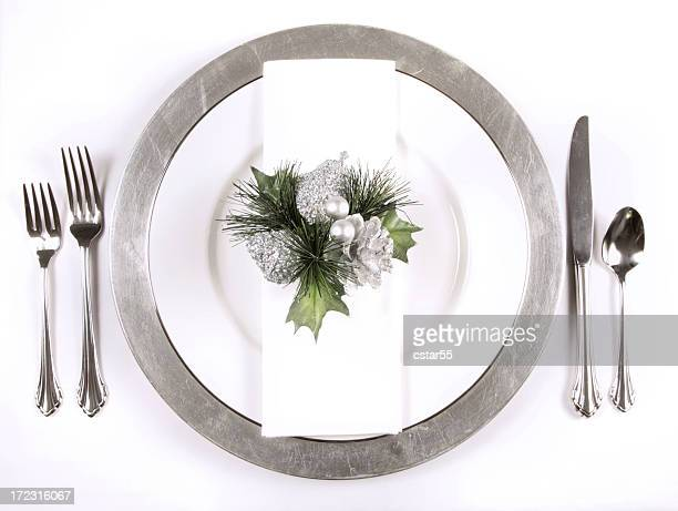 Holiday: Christmas place setting Silver Elegance Series