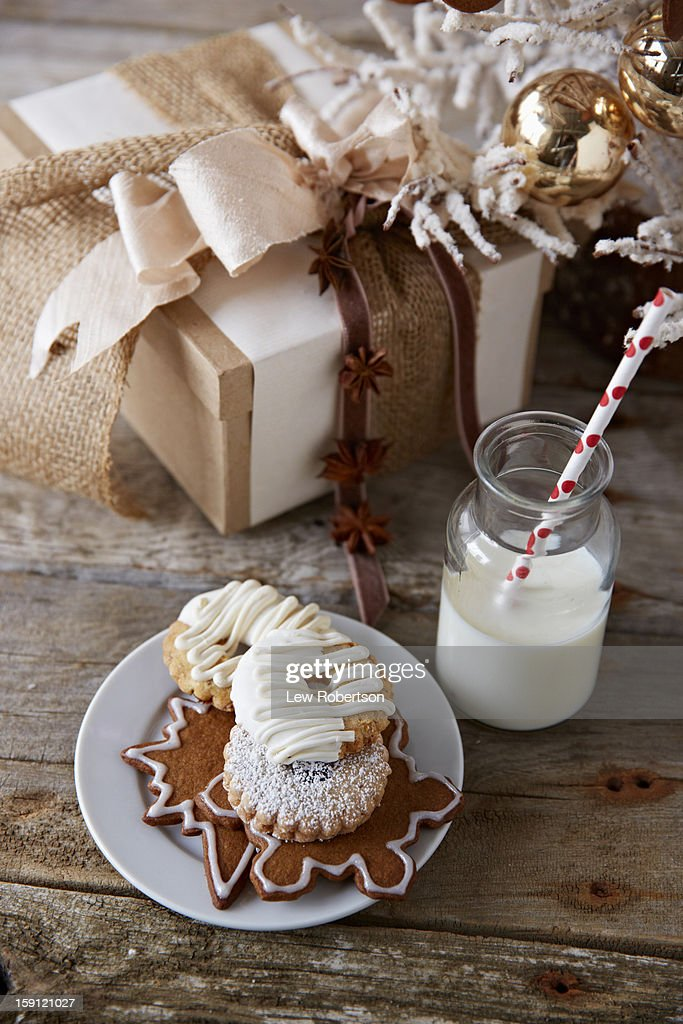 Holiday cookies and milk : Stock Photo