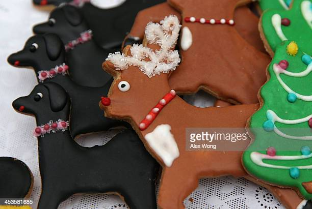Holiday cookies are seen during a preview of the 2013 holiday decorations December 4 2013 at the White Houes in Washington DC US first lady Michelle...