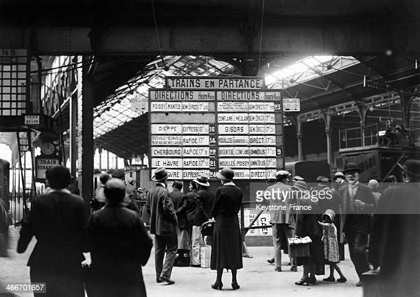 Holiday departure at the 'Gare St Lazare' in July 1929 in Paris France