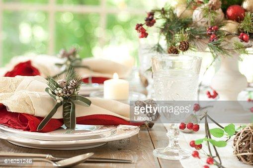 Natal Mesa de Jantar : Foto de stock