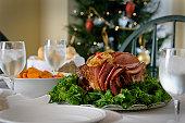 Holiday ham dinner table setup