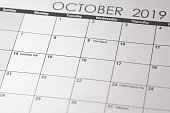 USA holiday, Happy Columbus Day, for the second Monday in October, 14 October. Columbus day in selective focus on October 2019 calendar.