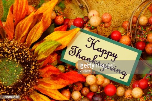 Holiday: Happy Thanksgiving on tag with sunflower Still Life