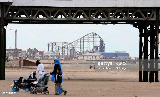 Holiday makers enjoy Blackpool beach as most of Britain experiences warm weather