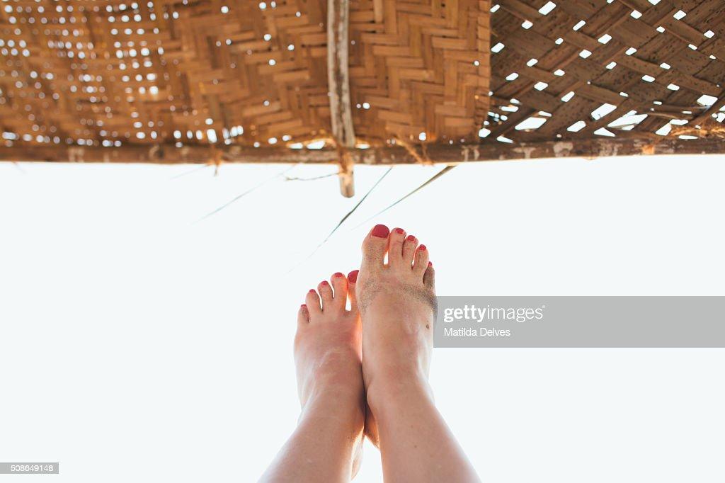 Holiday makers feet, Goa, India : Stock Photo