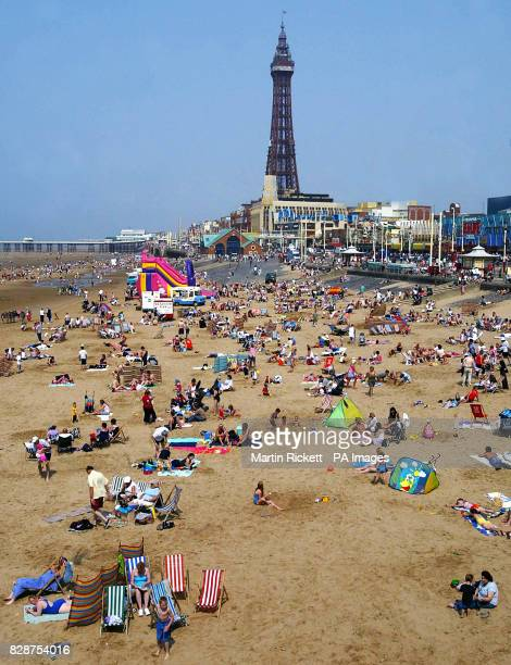 Holiday makers in Blackpool enjoy the beach Britain's heatwave could peak with record temperatures setting a new alltime high for the country's...
