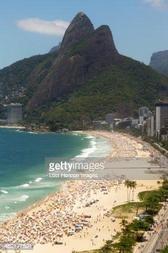Holiday makers on Ipanema beach, Rio De Janeiro, Brazil