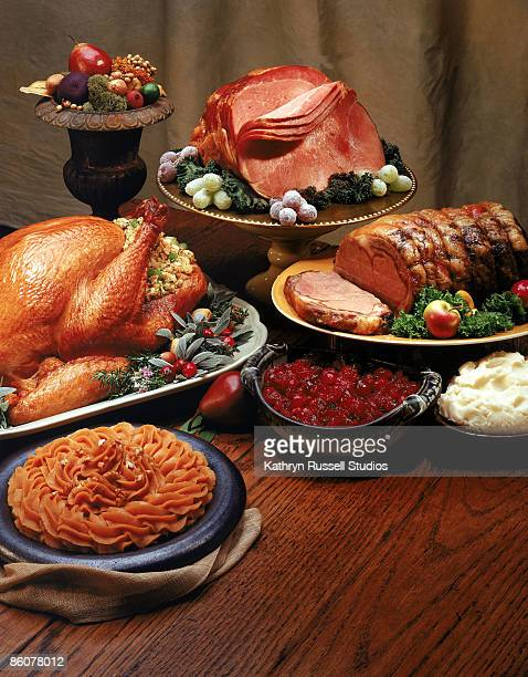 Holiday meats with side dishes
