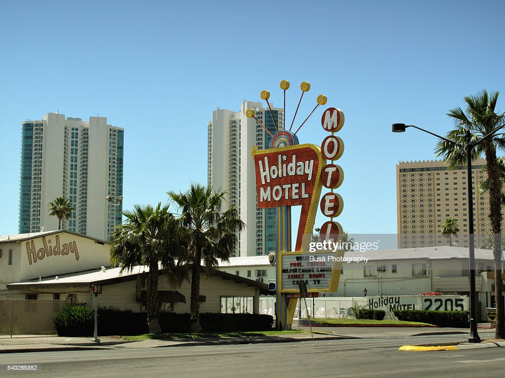 holiday motel with the characteristic signage on the las. Black Bedroom Furniture Sets. Home Design Ideas
