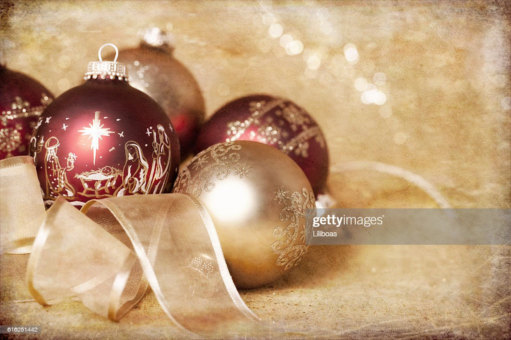 Holiday Nativity Christmas red and gold ornament baubles and rib : Stock Photo