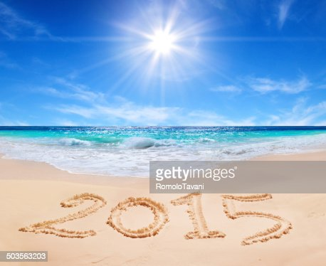 holiday on tropical beach 2015 : Stock Photo