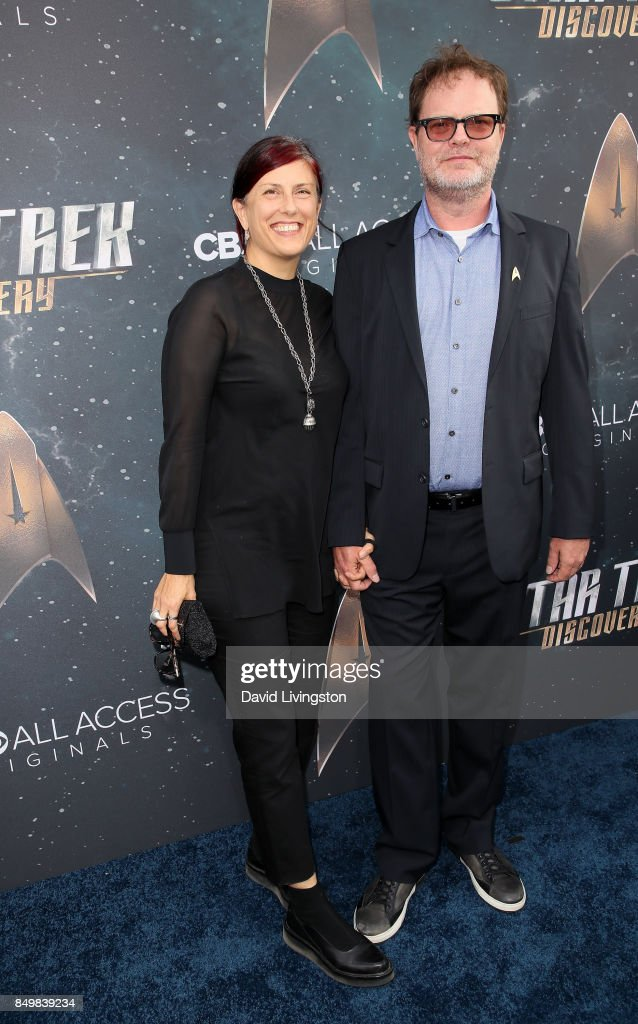 Holiday Reinhorn (L) and actor Rainn Wilson attend the premiere of CBS's 'Star Trek: Discovery' at The Cinerama Dome on September 19, 2017 in Los Angeles, California.