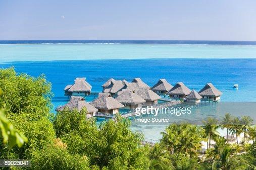 Holiday resort in bora bora : Stock Photo