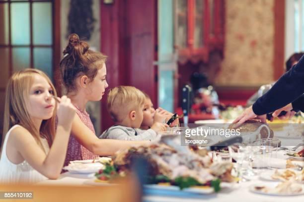 Holiday Season : Family having thanksgiving dinner