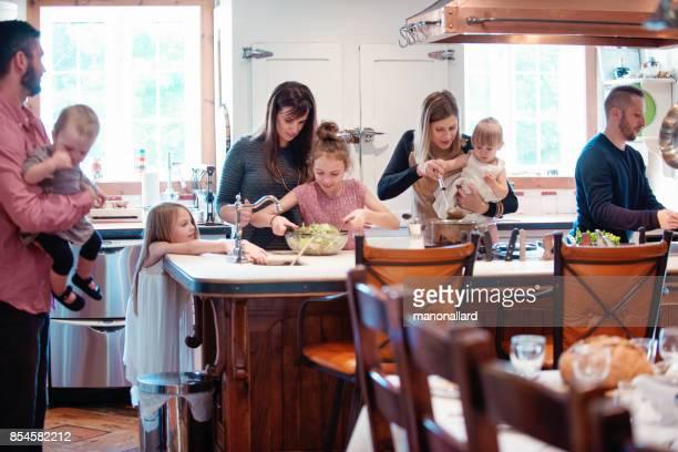 Holiday Season family multi-generation preparing thanksgiving dinner