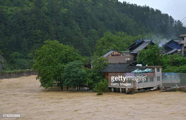 A holiday village sufferers flooding in Sankeshu County on June 8 2015 in Kaili Guizhou province of China Most parts in south China's Guizhou...