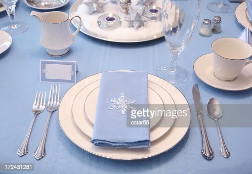 Holiday Winter Table Setting Series With White Blue And
