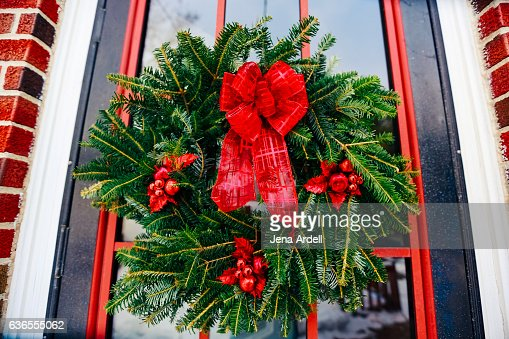 Holiday Wreath With Red Bow