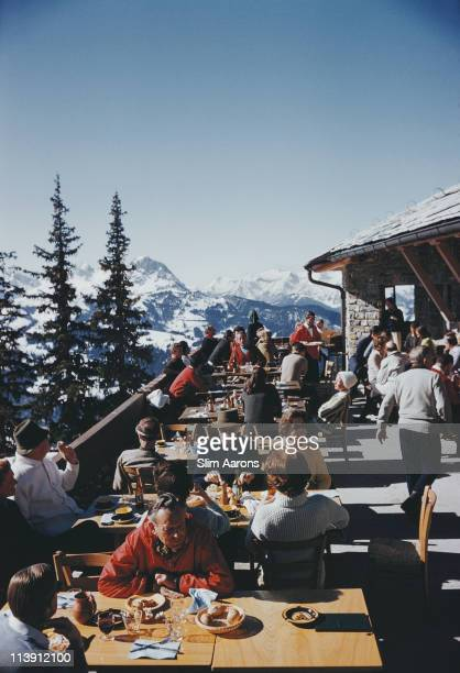 Holidaymakers at a ski lodge at Gstaad Switzerland March 1961