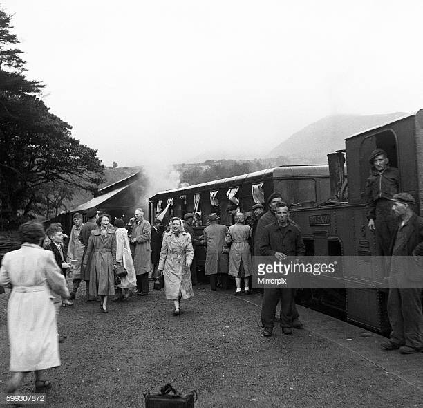 Holidaymakers board the steam train at the summit of Snowdon in Llanberis the base station for the Snowdon Mountain Railway the UK's only Swissstyle...