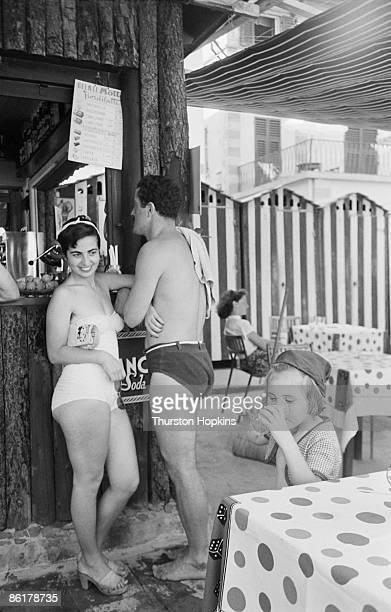 Holidaymakers on Paraggi Beach near the tourist resort of Portofino Italy August 1952 Original Publication Picture Post 6023 unpub