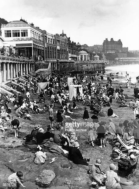 Holidaymakers on the beach at Scarborough North Yorkshire