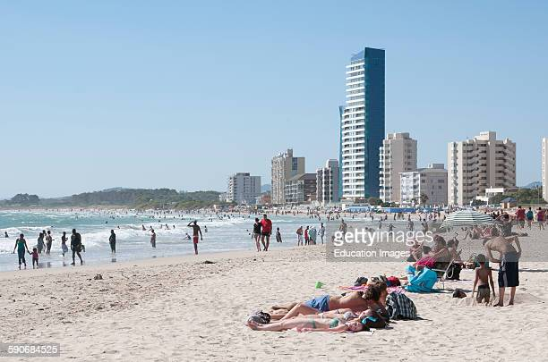 Holidaymakers on the beach The Strand Western Cape South Africa