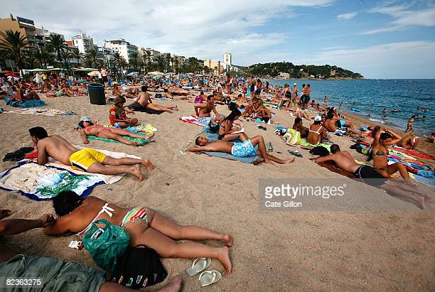 Holidaymakers on the Platja de Lloret which this month is mainly visited by Italian and French tourists on August 14 2008 in Lloret de Mar Spain...