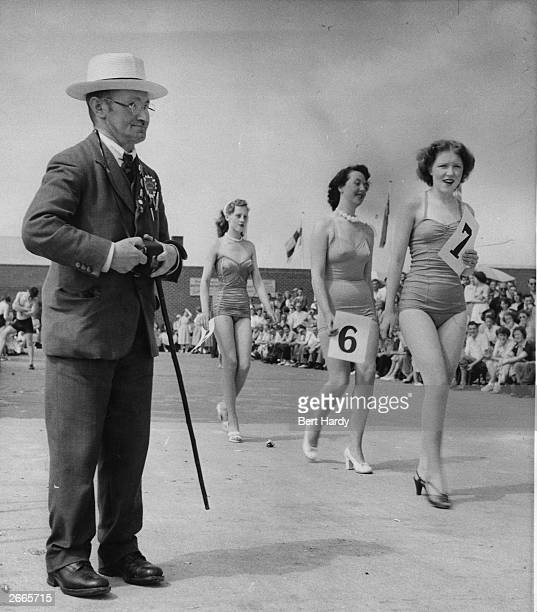 Holidaymakers take part in a beauty contest in a Butlin's camp at the seaside resort of Filey in North Yorkshire Original Publication Picture Post...