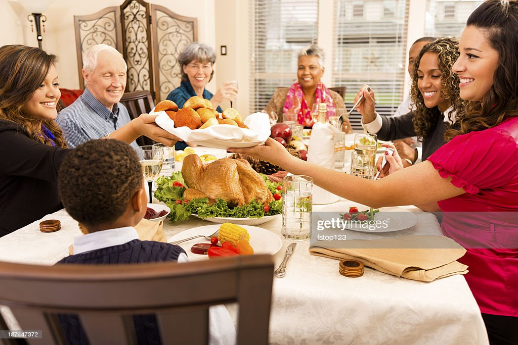Holidays Family Friends Gather For Dinner At Senior Womans ...