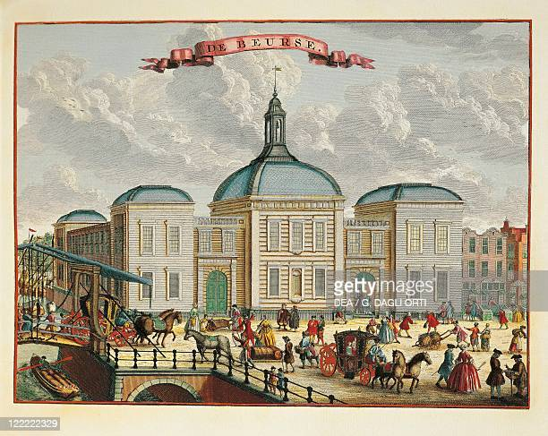 Holland 17th century Rotterdam Stock Exchange in 1694 Color print by J de Vor